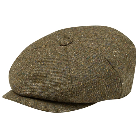 Green Salt & Pepper Donegal Tweed Baker Cap  - Click to view a larger image