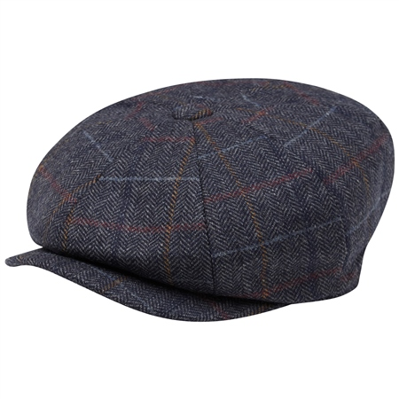 Grey Check Donegal Tweed Baker Cap  - Click to view a larger image