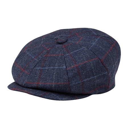 Blue Check Donegal Tweed Baker Cap  - Click to view a larger image