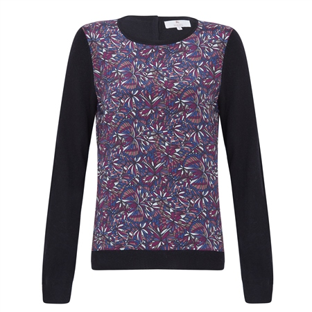 Black Chloe Liberty Print Panel & Cashmere Blend Jumper  - Click to view a larger image