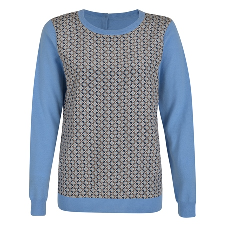 Blue Chloe Print Panel Jumper  - Click to view a larger image