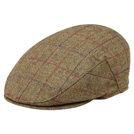 Oat Check Donegal Tweed Flat Cap  - Click to view a larger image