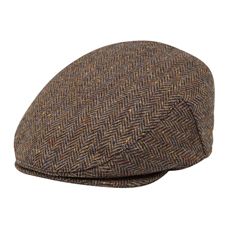 Brown Herringbone Donegal Tweed Flat Cap   - Click to view a larger image