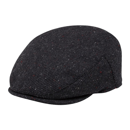 Charcoal Flecked Donegal Tweed Flat Cap  - Click to view a larger image
