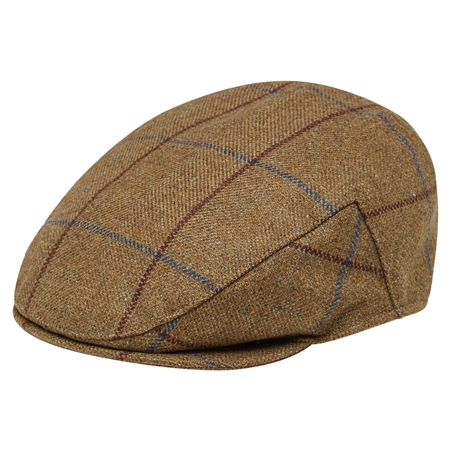 Light Brown Windowpane Checked Flat Cap  - Click to view a larger image