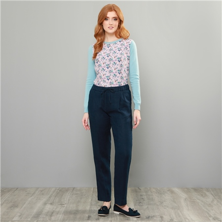 Navy Tina Linen Classic Fit Trousers  - Click to view a larger image