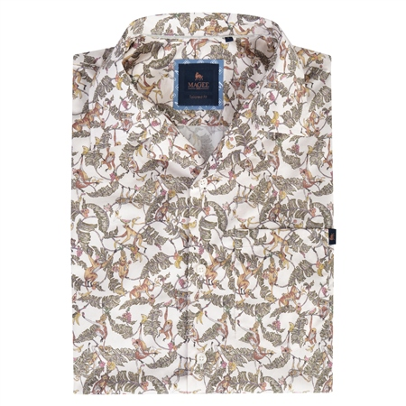 Cormullin Monkey Print Short Sleeve Tailored Fit Shirt  - Click to view a larger image