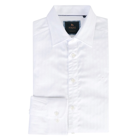 White Drumfin Jacquard Tailored Fit Shirt  - Click to view a larger image