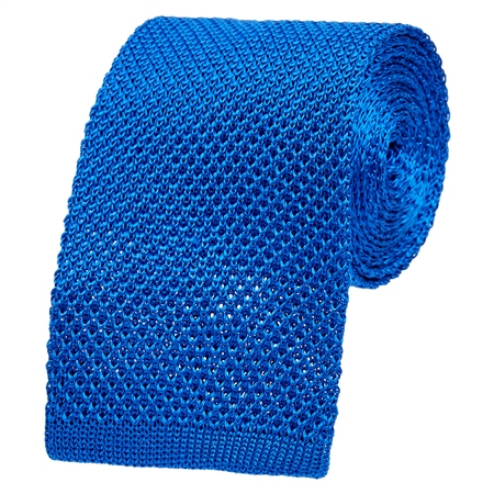 Royal Blue Knitted Silk Tie  - Click to view a larger image