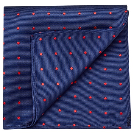 Blue & Red Silk Polka Dot Pocket Square  - Click to view a larger image