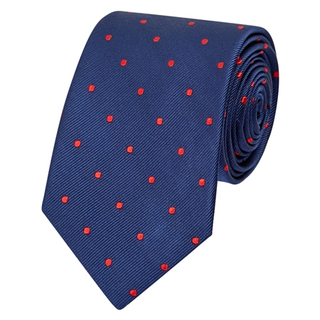 Blue & Red Polka Dot Silk Tie  - Click to view a larger image