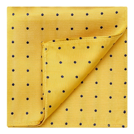 Yellow & Blue Polka Dot Silk Pocket Hankie  - Click to view a larger image