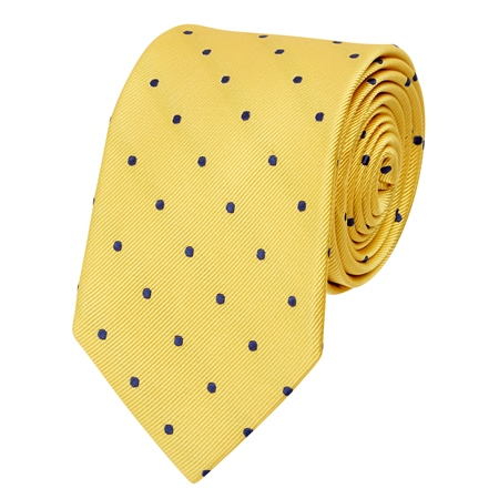 Yellow & Blue Polka Dot Silk Tie  - Click to view a larger image