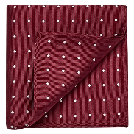 Burgundy & White Polka Dot Silk Pocket Square  - Click to view a larger image