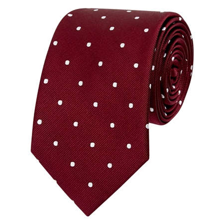 Burgundy & White Polka Dot Silk Tie  - Click to view a larger image