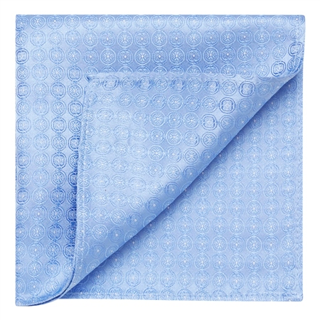 Blue Circles Geometric Woven Silk Pocket Square  - Click to view a larger image