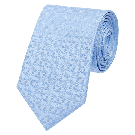 Blue Circles Geometric Woven Silk Tie  - Click to view a larger image