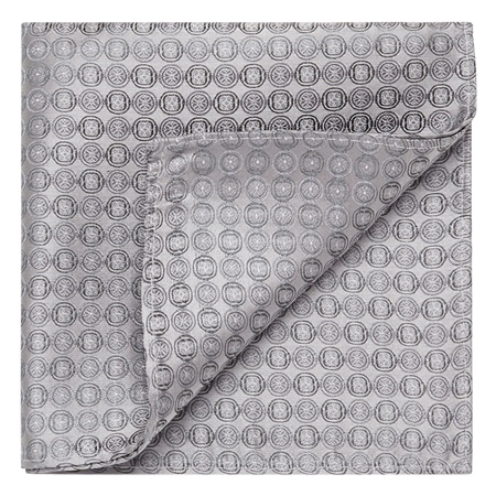 Grey Circles Geometric Woven Silk Pocket Square  - Click to view a larger image