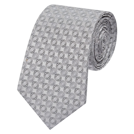 Grey Circles Geometric Woven Silk Tie  - Click to view a larger image