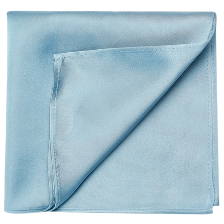 Silver Blue Satin Silk Pocket Square  - Click to view a larger image