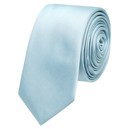 Silver Blue Thin Satin Silk Tie  - Click to view a larger image