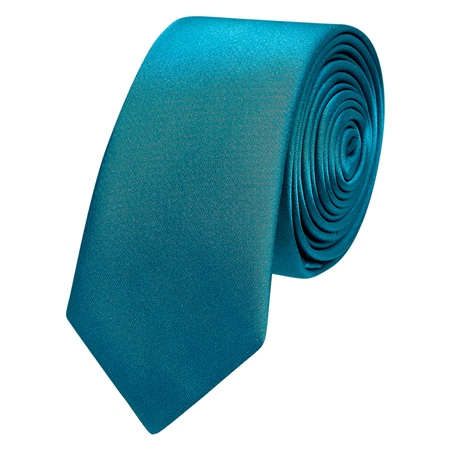 Teal Thin Satin Silk Tie  - Click to view a larger image