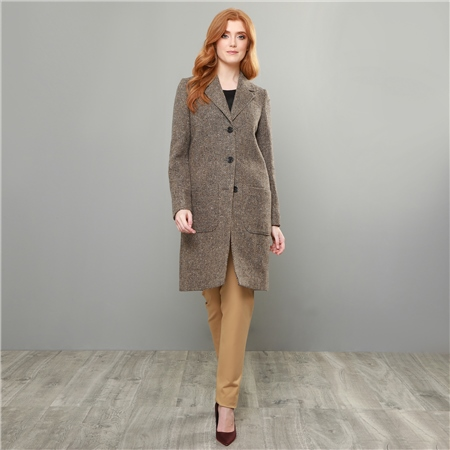 Camel & Brown Emma Donegal Tweed Herringbone Coat  - Click to view a larger image