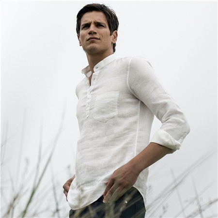 Irish Made - Ivory Linen Corlea Grandfather Classic Fit Shirt  - Click to view a larger image