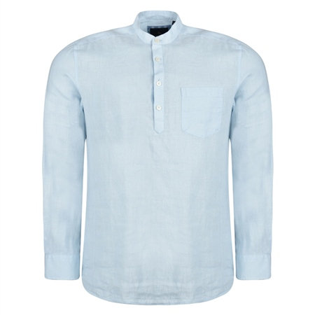 Irish Made - Baby Blue Linen Corlea Grandfather Classic Fit Shirt  - Click to view a larger image