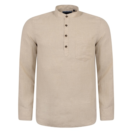Irish Made - Oat Linen Corlea Grandfather Classic Fit Shirt  - Click to view a larger image