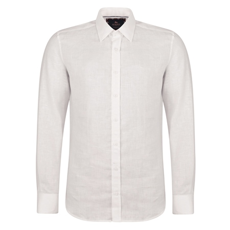 Irish Made - Ivory Dunross Linen Tailored Fit Shirt  - Click to view a larger image
