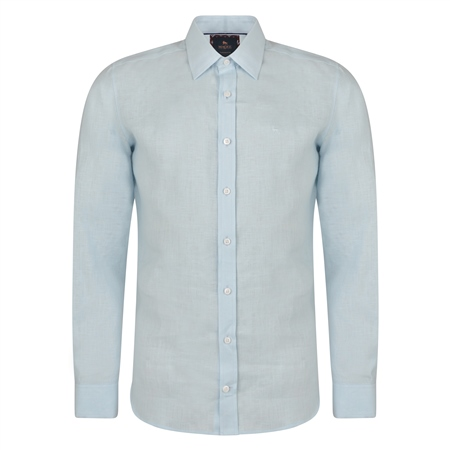 Irish Made - Baby Blue Dunross Linen Tailored Fit Shirt  - Click to view a larger image