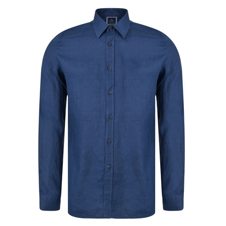 Irish Made - Indigo Linen Dunross Tailored Fit Shirt  - Click to view a larger image