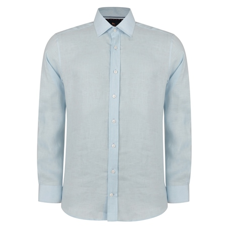 Irish Made - Baby Blue Linen Kilbeg Classic Fit Shirt  - Click to view a larger image