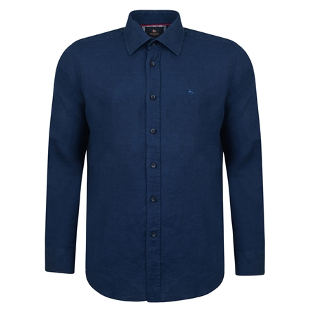 Irish Made - Indigo Linen Kilbeg Classic Fit Shirt  - Click to view a larger image