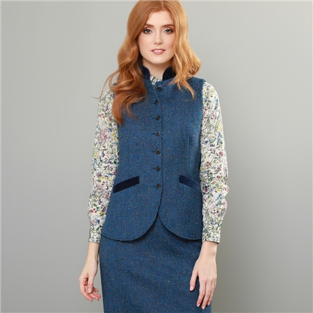 Navy Salt & Pepper Donegal Tweed Georgie Waistcoat   - Click to view a larger image