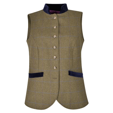 Green Georgie Country Check Tweed Waistcoat  - Click to view a larger image