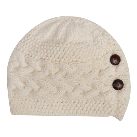 White Báinín Handknits Hat  - Click to view a larger image