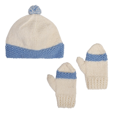 White/Blue Handknit Eske Baby Set  - Click to view a larger image
