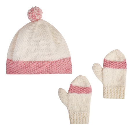 White/Pink Handknit Eske Baby Set  - Click to view a larger image