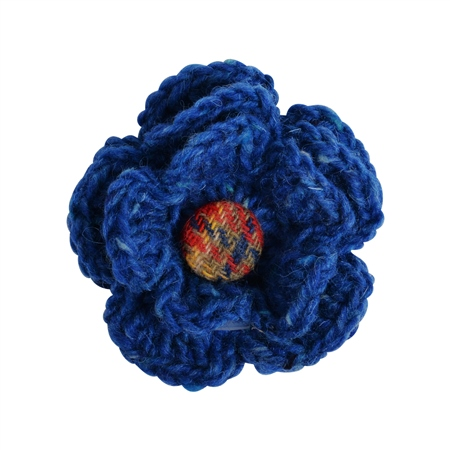 Blue Handknits Flower Corsage  - Click to view a larger image