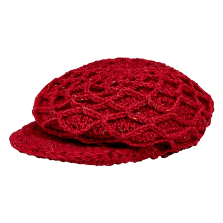 Red Handknit Mesh Peak Hat  - Click to view a larger image