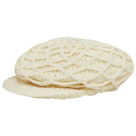 White Báinín Handknit Mesh Peak Hat  - Click to view a larger image