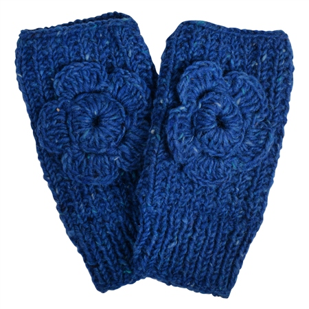 Blue Handknit Rose Warmer  - Click to view a larger image