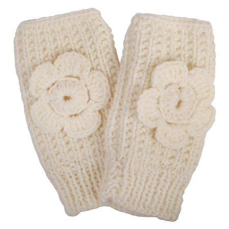 White Báinín Handknit Rose Warmer  - Click to view a larger image