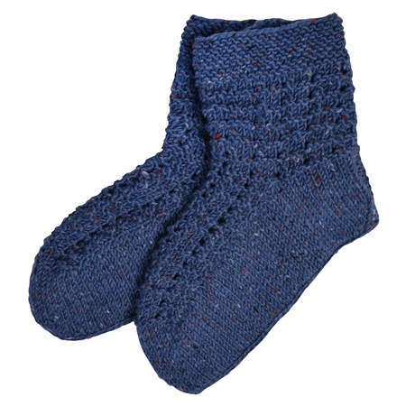 Blue Handknit Slipper Socks  - Click to view a larger image