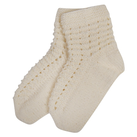 White Báinín Handknit Slipper Socks  - Click to view a larger image