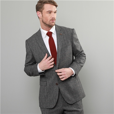 Grey Check Salt & Pepper Donegal Tweed 3-Piece Tailored Fit Suit   - Click to view a larger image