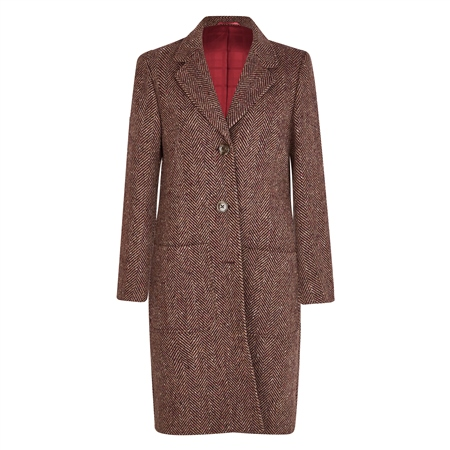 Camel & Mulberry Emma Herringbone Donegal Tweed Coat  - Click to view a larger image