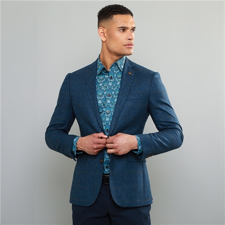 Blue Checked Donegal Tweed Classic Fit Jacket  - Click to view a larger image